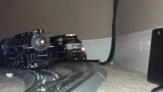 NS 9156 Leads a Mixed Freight Past NKP 765 (HO-Scale)