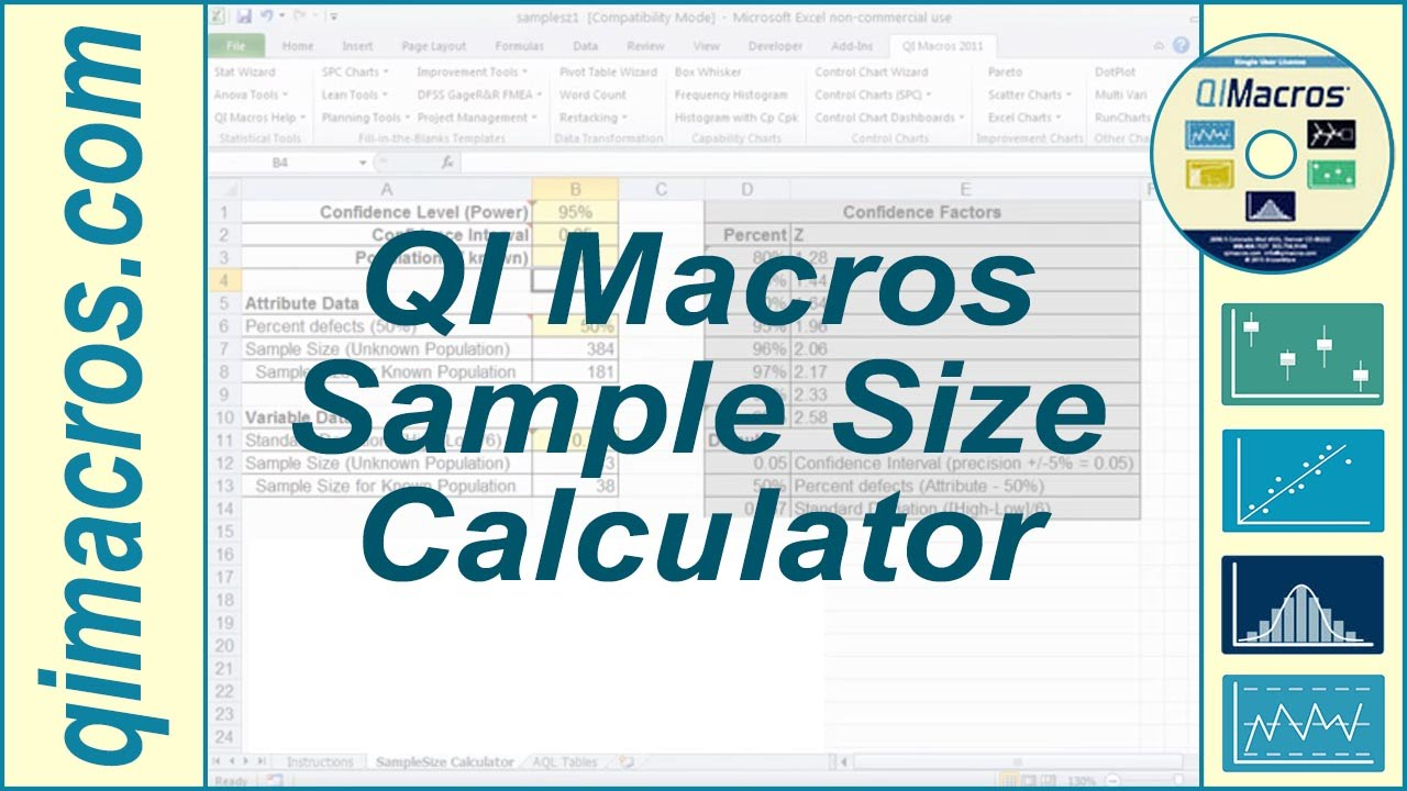 Sample Size Calculator in Excel for Variable and Attribute Data ...