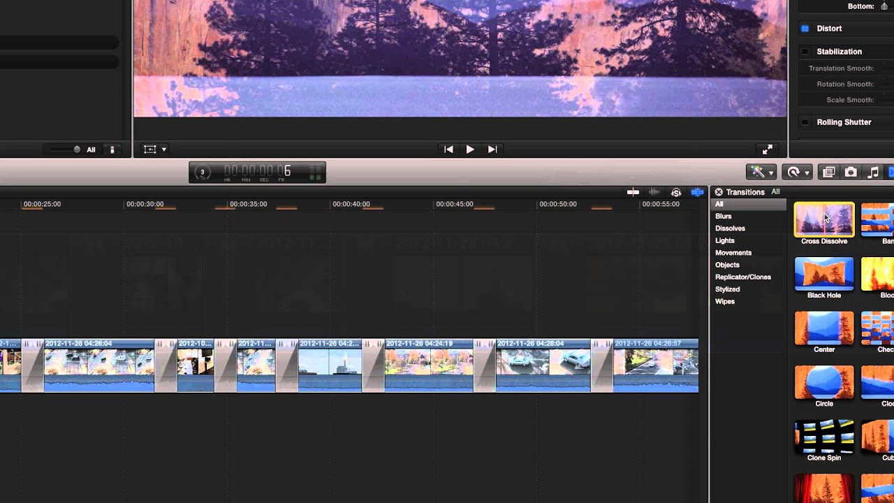 Transitions in fcpx