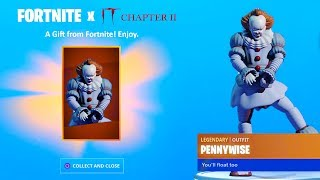 "The New ""PENNYWISE"" Skin In Fortnite! (FORTNITE X IT CHAPTER 2 EVENT!)"