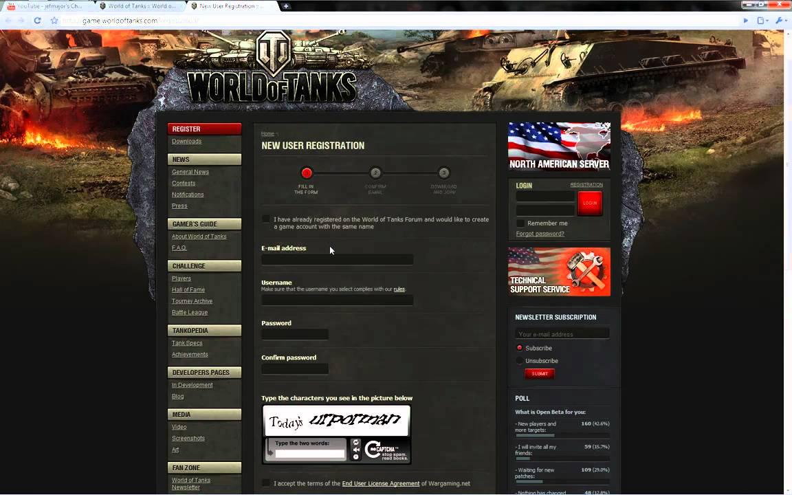 World of Tanks: how to register 3