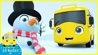 Buster Builds A Snowman Song | Go Buster | Baby Cartoons | Kids Videos | ABCs and 123s