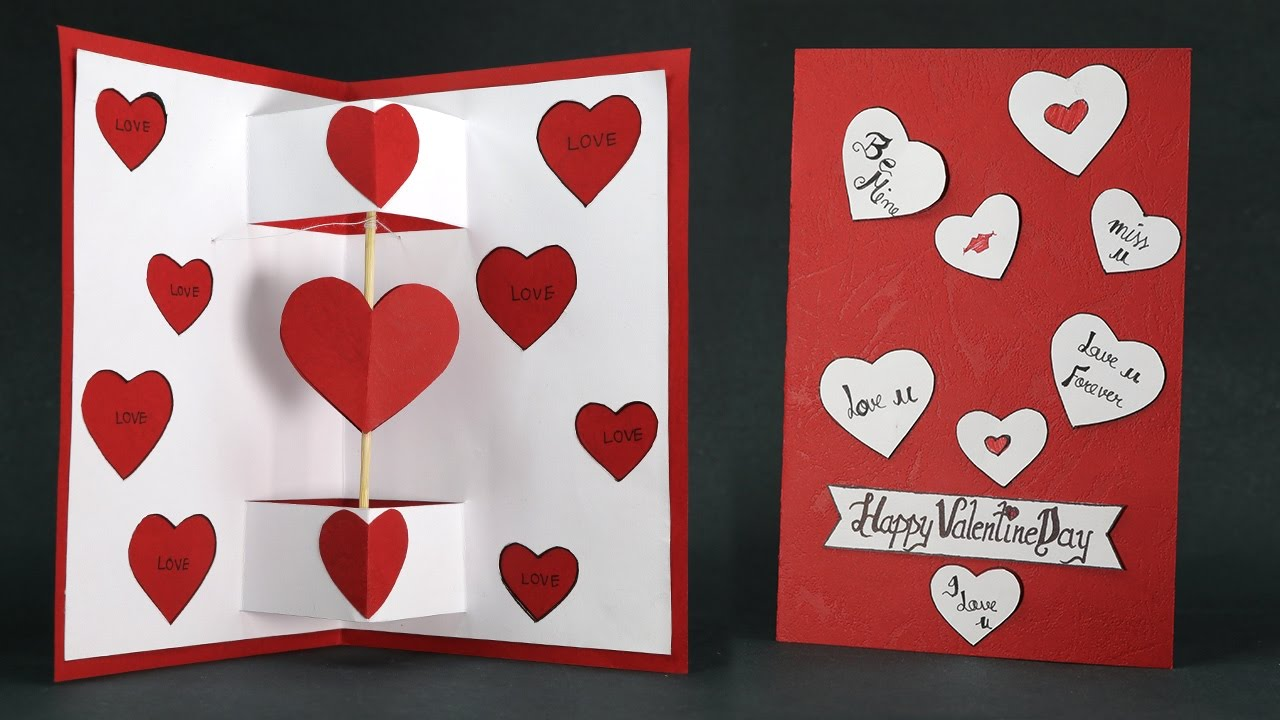 DIY Valentine Card   Twirling Heart Pop Up Card Step By Step   YouTube
