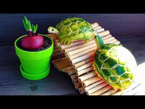 How to make watermelon turtles green tortoises fruit for Art of food decoration