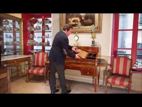Bureau à cylindre d'époque Louis XVI présenté par l'antiquaire Philippe Leclercq