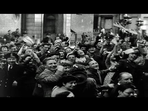 HD Stock Footage WWII V-E Day Celebrations Victory in Europe - War is Over