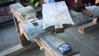 Timber Frame Sitting Bench From A Log Slab - First Bench Slideshow