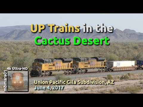 [5B][4k] UP Trains in the Cactus Desert, Union Pacific Sunset Route, AZ, 06/04/2017 ©mbmars01