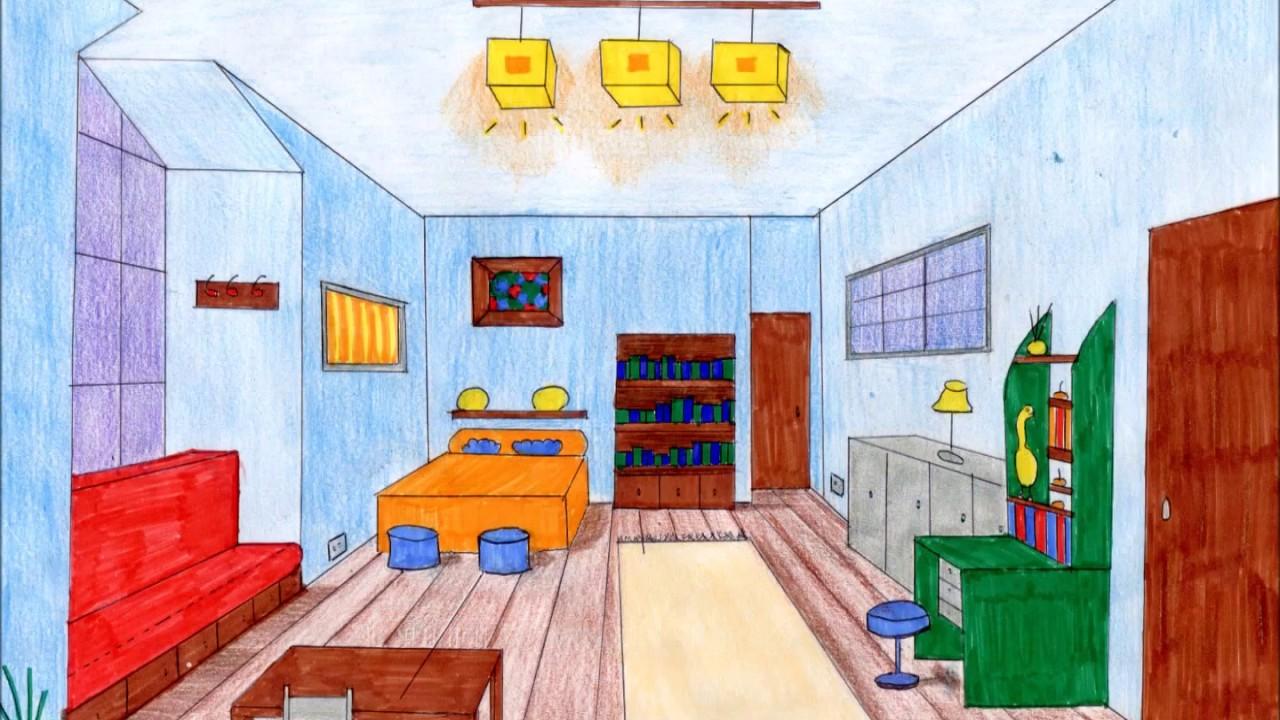 Dise o de habitaciones en perspectiva c nica frontal youtube - Habitacion en perspectiva conica ...