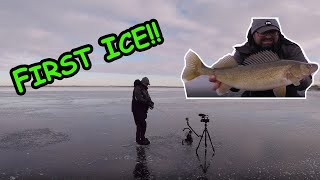 ICE FISHING IS HERE!!! Chasing Walleye! (BE SAFE!)