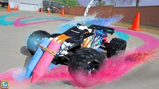 RC CAR GIANT SIDEWALK CHALK CHALLENGE!!