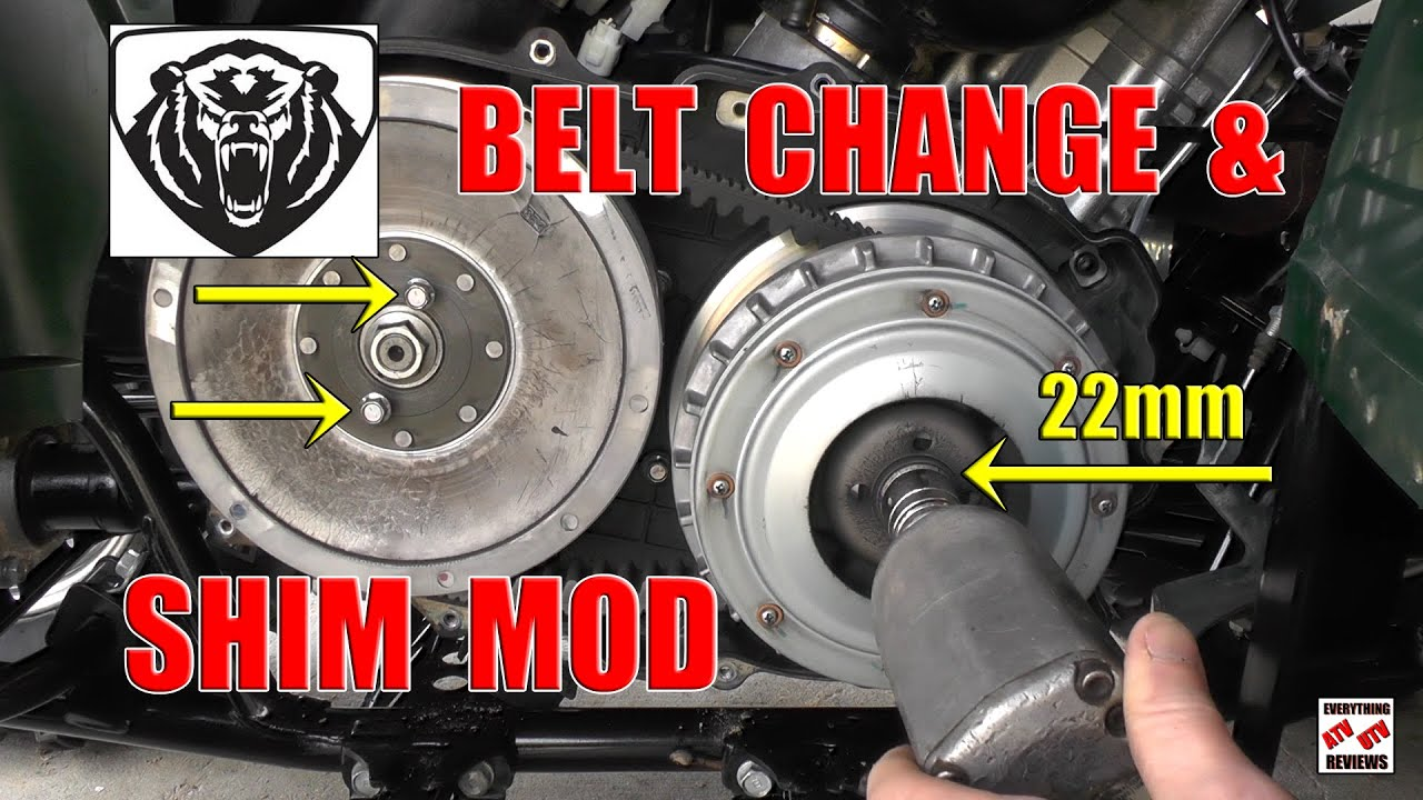 Yamaha Grizzly 660 >> Grizzly 700 Drive Belt Change and Shim Mod Install for MORE Low End PoWeR - YouTube