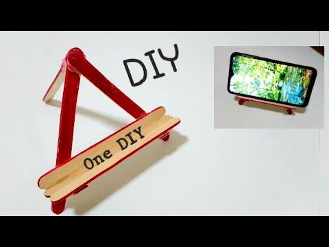 ทำที่ตั้งโทรศัพท์ จากไม้ไอติมทำง่าย   How to make a phone stand