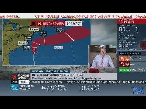 live: hurricane maria tracker 125mph CAT 3-Warning!US/hurricane jose tracker/Weather channel Live HD