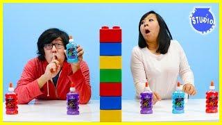 Twin Telepathy Slime Challenge With Milkshake! Ryan's Mommy Vs. Ryan's Daddy