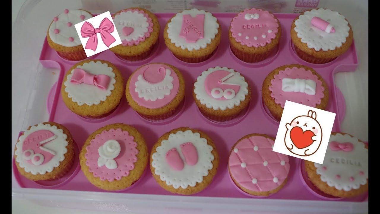 Cupcakes decorazioni in pasta di zucchero nascita bimba for Pasta di zucchero decorazioni
