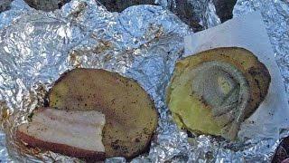 Картошка в фольге с салом или отдых в лесу