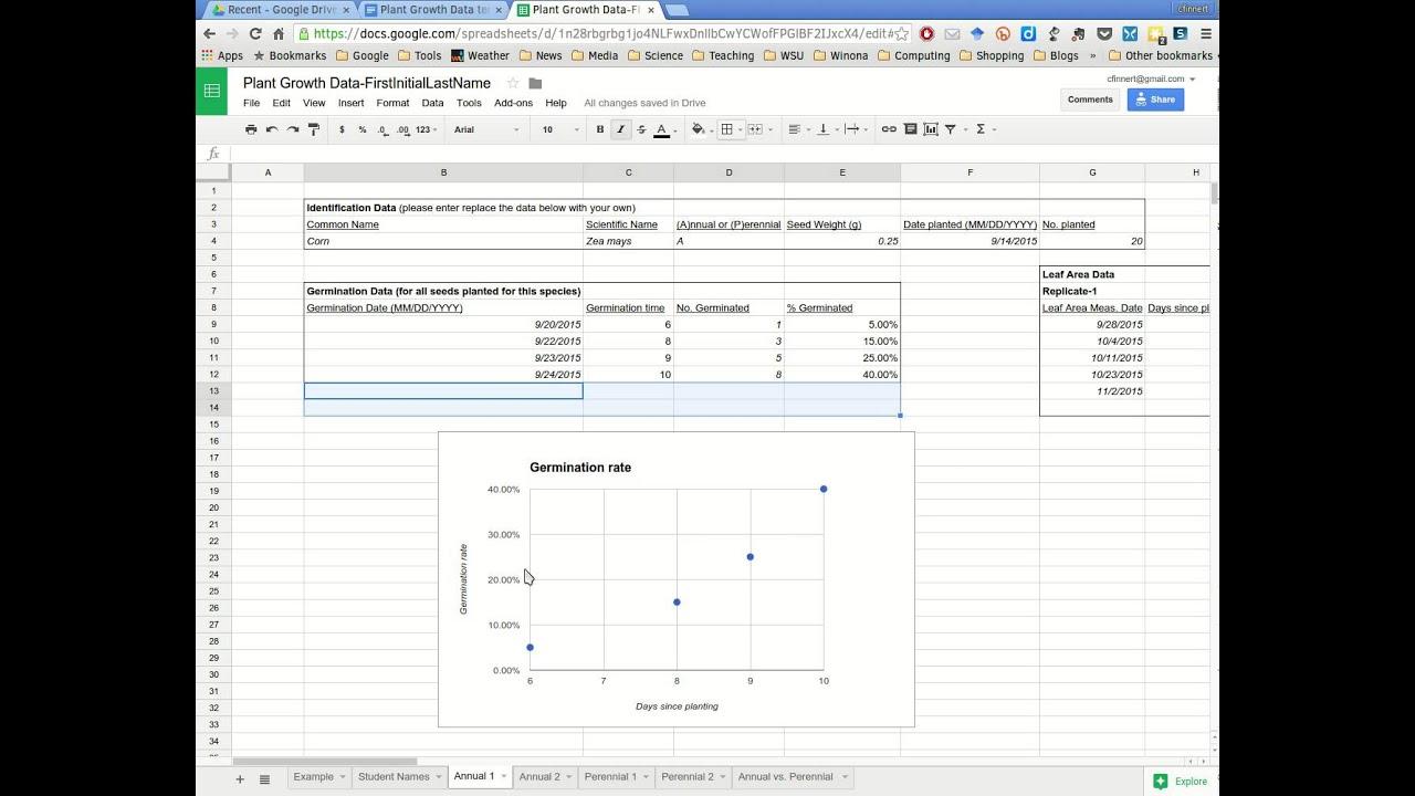 Plant Growth Data Spreadsheet Demo