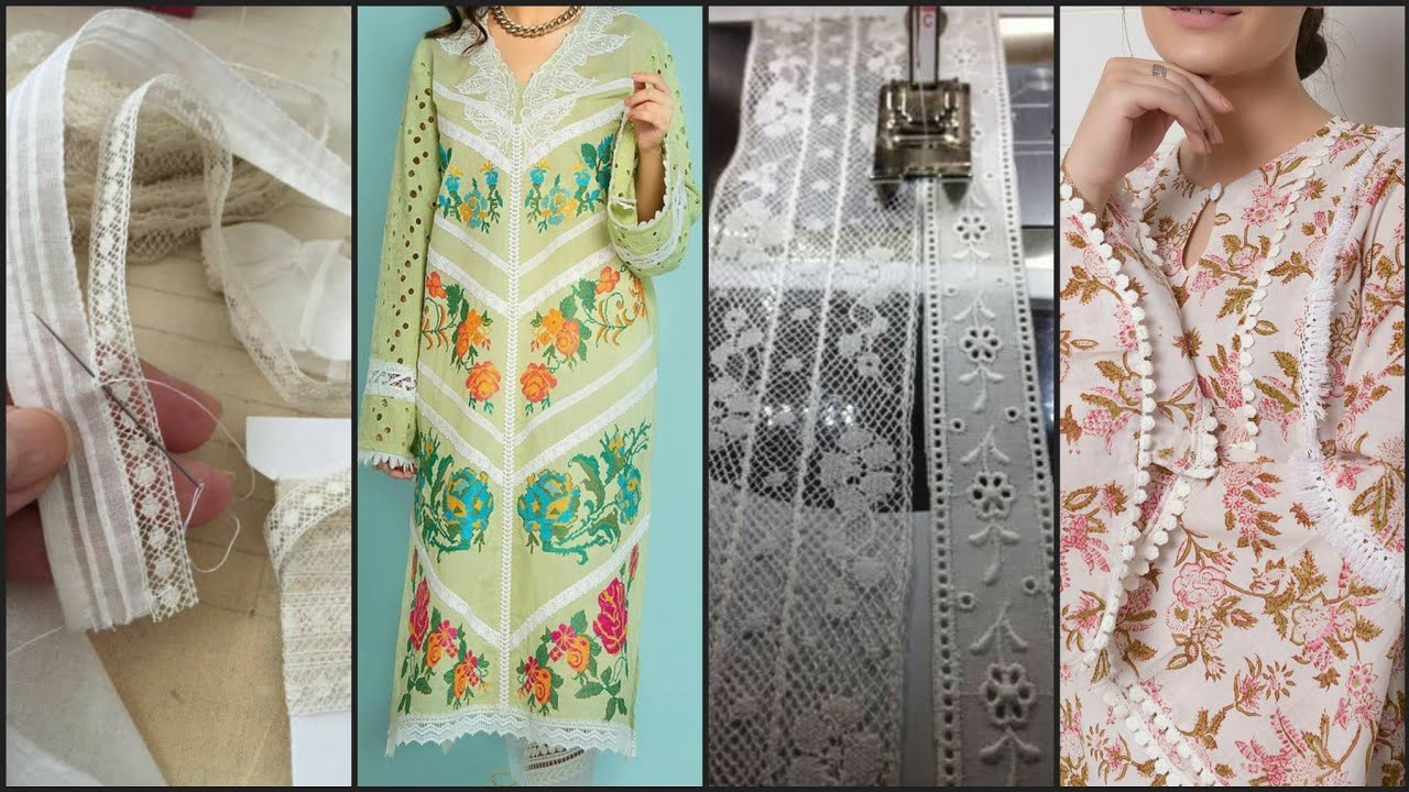 Very Creative Decent Lace Designing Idea's on Cotton & Lawn Kurti,Shirts