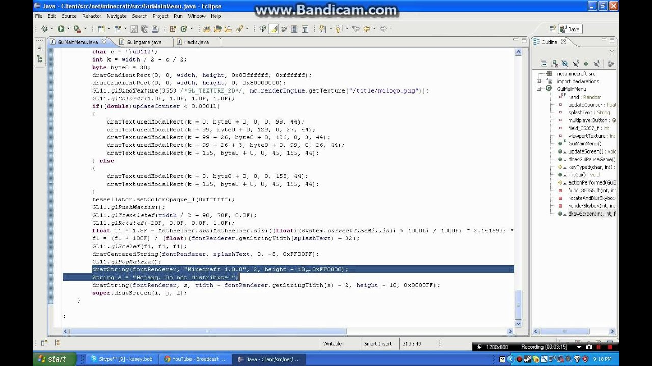 Minecraft Coding Tutorial for Minecraft 1.0.0 Gui Main