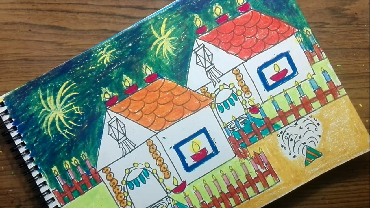 How to draw diwali festival drawing for kids also youtube rh