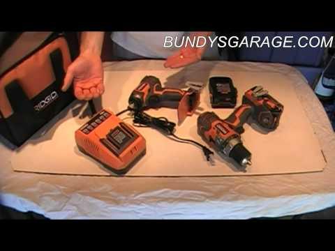 Review Home Depot Ridgid R9601 18 Volt X4 Lithium Ion Cordless Drill Impact Driver - Bundys Garage