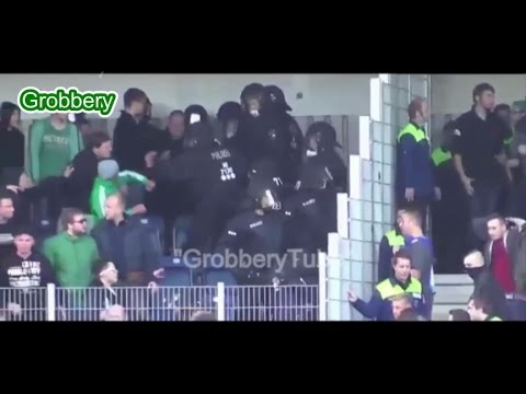 Hooligans fights Hannover 96 Vs VFB LUBECK (After racist chants from Lubeck fans Hannover attacked )