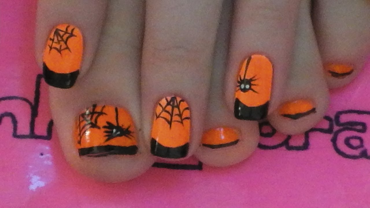 - Spider And Web Toe Nail Art Tutorial For Halloween - YouTube