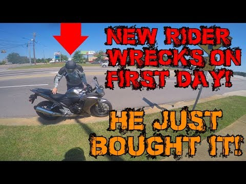 New Rider Wrecks On Way Home From Dealer!! I Ride A Harley!