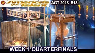 Lord Nil Escape Artist & RATTLE SNAKES DIVIDED JUDGES Quarterfinals 1 America's Got Talent 2018 AGT