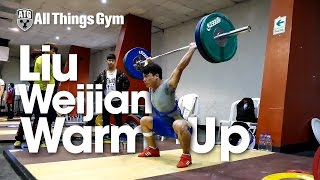Liu Weijian (69kg) Warm Up Area 2015 Youth World Weightlifting Championships