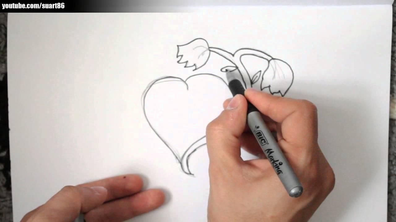 Como dibujar una rosa con un corazon youtube - Como secar una rosa ...