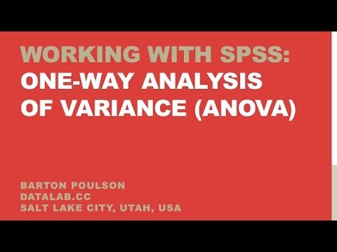 introduction to one way analysis of variance One-way analysis of variance is used to test the difference between the means of several subgroups of a variable (multiple testing) how to enter data the following figure illustrates how data need to be entered.