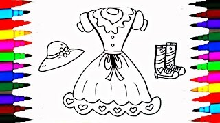Coloring Pages Girls Dress Boots and Hat l Wardrobe Drawing Pages To Color For Kids l Learn Colors