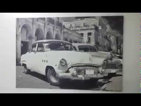 Glow in the Dark Canvas Print, Classic Car on the Streets of Havana