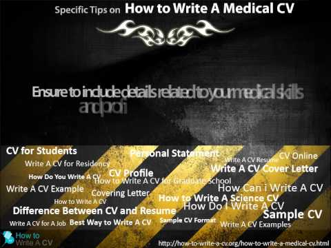 How To Write A Medical Cv YouTube
