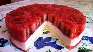 Клубничный Бисквитно-Желейный Торт (Легкий  и Очень Нежный) / Праздничный Торт / Пошаговый Рецепт