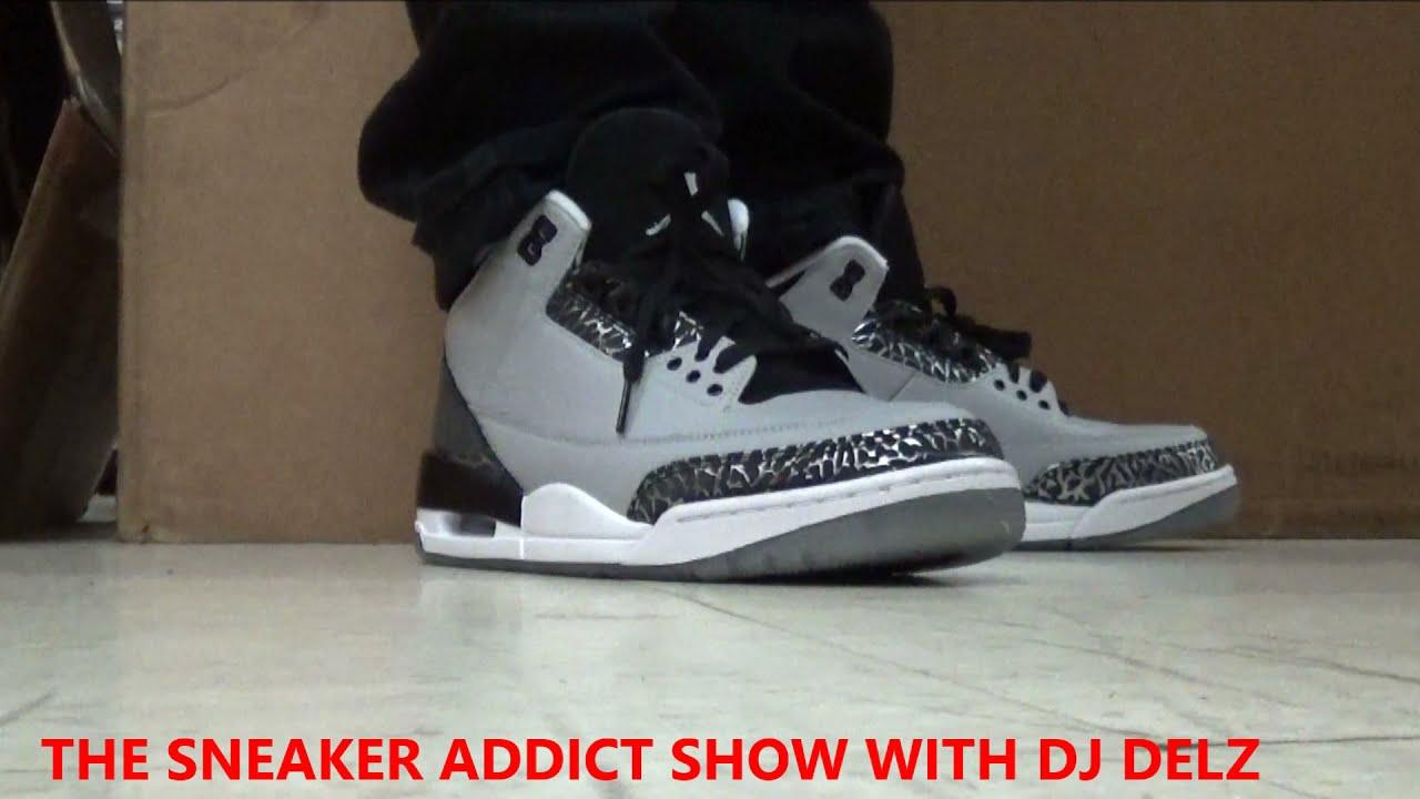 huge selection of 13f56 83dc5 Air Jordan Wolf Grey Metallic 3s On Foot III 3