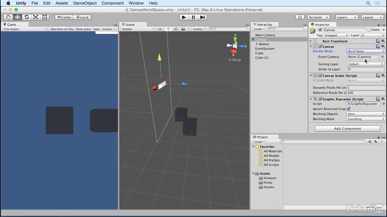 Unity 5: UI - 1 5 Canvas: World space