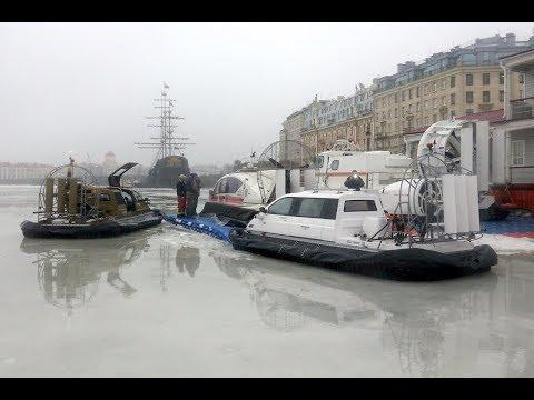 Ice patrolling  on the Neva River  on hovercraft Christy 7186 FC and Christy 5143 FC.