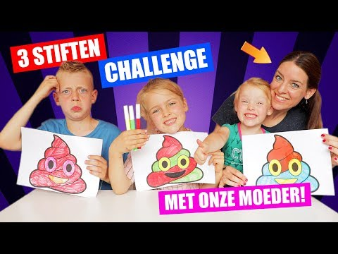 3 STIFTEN CHALLENGE met onze MOEDER!! [3 Marker Challenge] ♥DeZoeteZusjes♥
