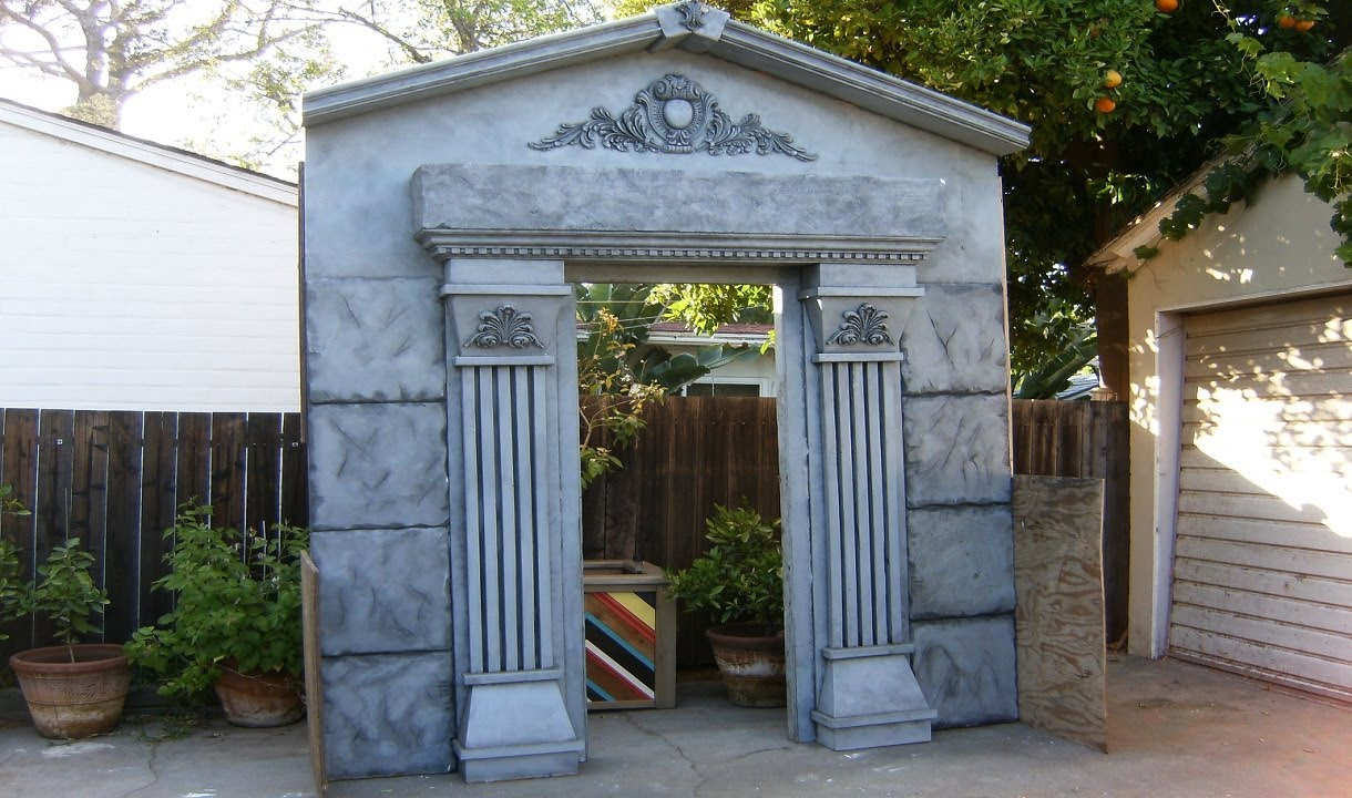 Make A Mausoleum Halloween Facade Diy Cemetery Crypt