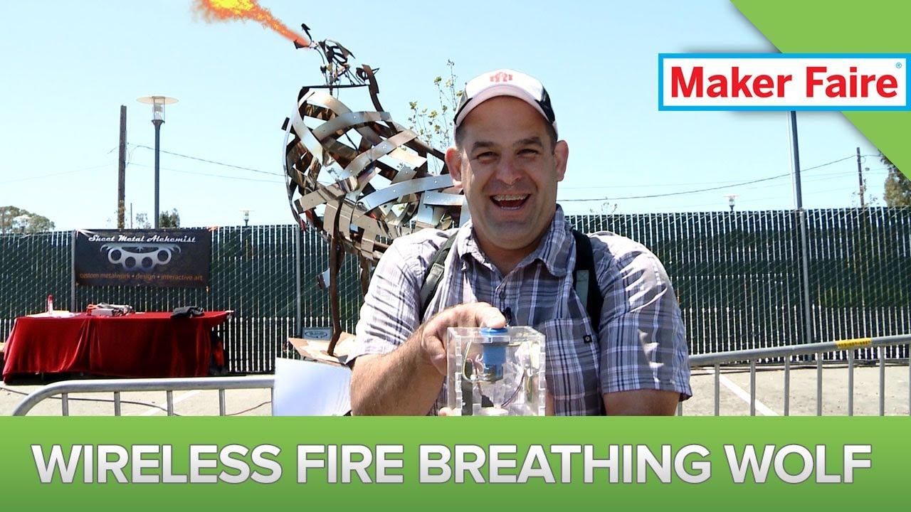 $20 Wixel Wireless USB Module Frees Fire Breathing Wolf! Maker Faire 2013