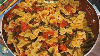 307 - Farfalle alla stringa...molto meglio d' un' arringa (primo piatto vegetariano facile e veloce)