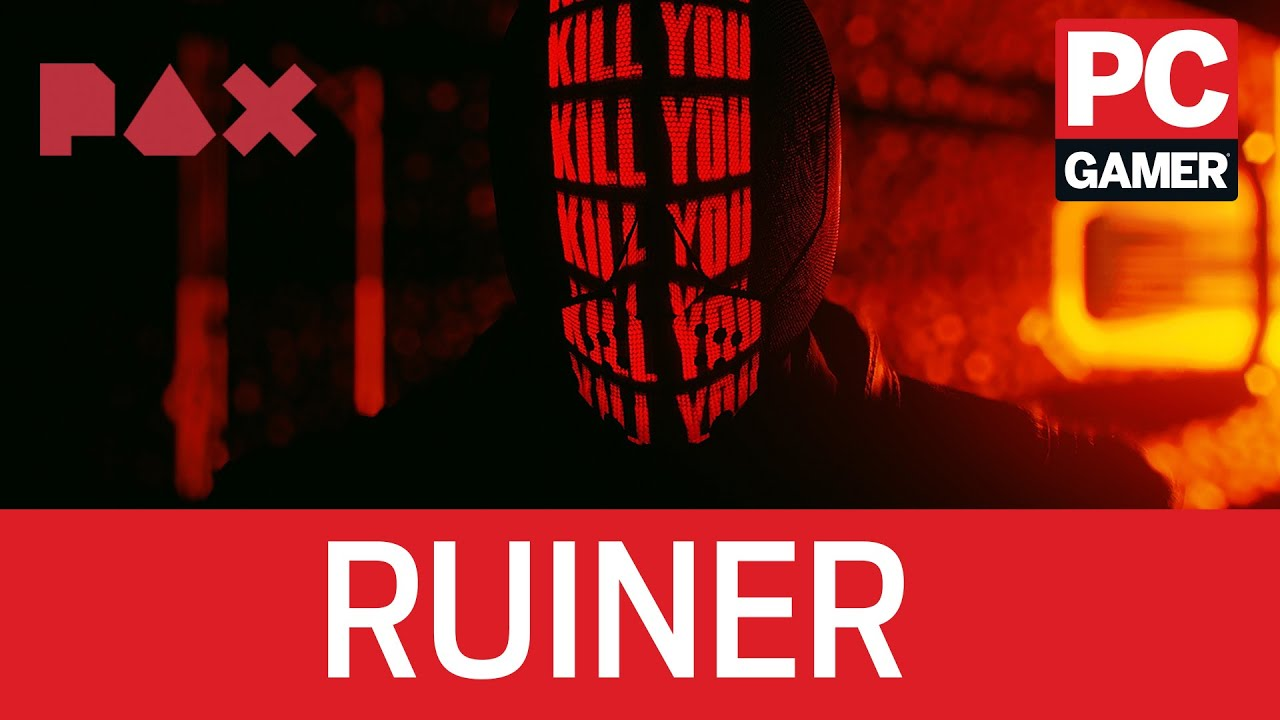 Murder criminals with a laser katana as a robot-faced assassin in Ruiner