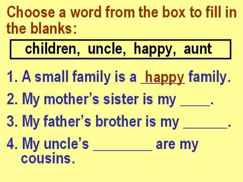 Class 1 EVS Small family, large family and joint family Questions and  Answers