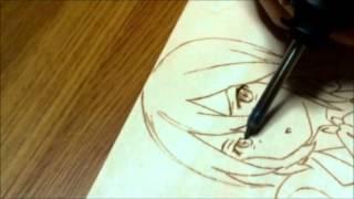 焦がし絵制作風景。 絵はココロコネクト、稲葉姫子.