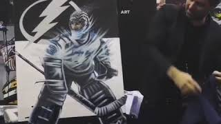 Manon Rhéaume Painting Unveiling Sevigny NHL Tampa Bay Lightning