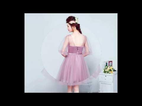 ชุดไปงานแต่งงาน ชุดออกงานสีชมพู แนวสวยหรู ดูดี สไตล์เกาหลี ผ้าตาข่าย + ผ้าไหมอิตาลี
