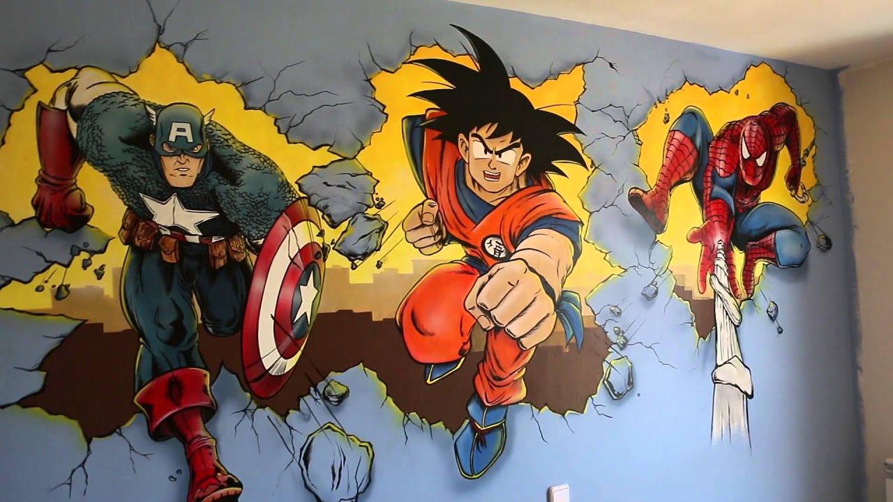 habitacin juvenil con mural del capitn amricagoku y spiderman youtube